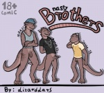 2015 3_toes anthro balls bottomless brothers claws clothed clothing comic cover digital_media_(artwork) dragon english_text erection group half-dressed hat horn lizardlars looking_back male penis scalie shirt sibling smile text toes uncut vein yellow_eyes   Rating: Explicit  Score: 15  User: *Sellon*  Date: March 13, 2015