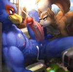 anthro avian ball_fondling balls bird canine city cum duo erection falco_lombardi fellatio fondling fox fox_mccloud macro male male/male mammal nintendo oral penis sex star_fox tatsumichi tongue tongue_out video_games