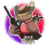 dragonith eyewear feral gun hat hoothoot nintendo noctowl pokémon ranged_weapon rifle simple_background sniper_(team_fortress_2) sniper_rifle sunglasses team_fortress_2 valve video_games weapon