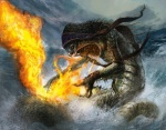 ambiguous_gender anthro dave_kendall fire magic magic_the_gathering naga official_art open_mouth partially_submerged scalie seascape solo  Rating: Safe Score: 2 User: Circeus Date: January 22, 2016
