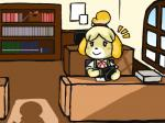 animal_crossing anthro artist bookshelf canine clothed clothing detailed_background dog duo female inside isabelle_(animal_crossing) mammal nintendo shadow sitting smile solo unseen_character video_games にくにぐしい   Rating: Safe  Score: 1  User: Genjar  Date: January 26, 2015