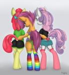2013 anthro anthrofied apple_bloom_(mlp) butt clothing cutie_mark cutie_mark_crusaders_(mlp) cynicalmoose earth_pony equine feathered_wings feathers female friendship_is_magic green_eyes group hair horn horse legwear looking_at_viewer looking_back mammal multicolored_hair my_little_pony orange_feathers pegasus pony purple_eyes purple_hair red_hair scootaloo_(mlp) simple_background socks sweetie_belle_(mlp) two_tone_hair unicorn wingsRating: QuestionableScore: 7User: slyroonDate: June 19, 2017