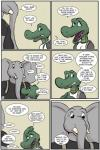 2017 alligator angie_(study_partners) anthro clothed clothing comic crocodilian elephant english_text fangs female green_eyes male mammal open_mouth ragdoll_(study_partners) reptile scalie speech_bubble study_partners teeth text thunderouserections tongue trunk tusks young