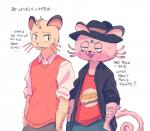 2016 alolan_persian anthro anthrofied clothed clothing dialogue duo english_text hat nintendo persian pokémon pokémon_(species) pokémorph rambamboo_(artist) regional_variant simple_background sweat text video_games white_background