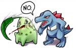 amastroph ambiguous_gender black_eyes blood chikorita dialog english_text feral nintendo plain_background pokémon reaction_image red_eyes slap text totodile video_games white_background   Rating: Safe  Score: 15  User: slyroon  Date: August 19, 2012