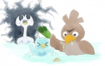 alpacapala ambiguous_gender angry avian bird blue_feathers brown_feathers drooling duck ducklett farfetch'd feathers feral group leek nintendo pokémon saliva simple_background swan swanna video_games water white_feathers young