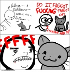 :3 ambiguous_gender angry blood cat comic dialogue duo english_text feline feral human humor mammal meme prguitarman rage simple_background smile text white_background  Rating: Safe Score: 6 User: Krager Date: April 14, 2010