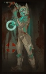 anthro armor blonde_hair blood blue_eyes bodysuit canine clothing dead_space glowing hair male mammal skinsuit solo   Rating: Safe  Score: 1  User: Arandus  Date: August 30, 2011