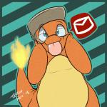 2015 ambiguous_gender blue_eyes charimod charmander chubby cute eyewear fangs fire glasses hat lizard looking_at_viewer mail nintendo pokémon reptile scalie solo teeth tongue tongue_out video_games  Rating: Safe Score: 10 User: DeltaFlame Date: April 07, 2015