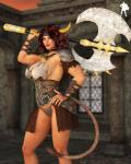 3d axe big_breasts breasts clothed clothing corruption_of_champions excellia_(coc) female horn looking_at_viewer minotaur skimpy smile solo supro3d weapon   Rating: Safe  Score: 4  User: Robinebra  Date: January 24, 2014