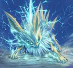 absurd_res all_fours ambiguous_gender angry claws eeveelution electricity feral fur green_eyes hi_res jolteon lightning looking_at_viewer nintendo pokémon solo tamanosuke video_games white_fur yellow_fur  Rating: Safe Score: 21 User: chdgs Date: March 21, 2016