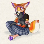 anthro big_ears canine cub cuddling cute diaper dog duo female fox hair infantilism kalida kalida_(character) male mammal paws red_eyes scarf short_hair simple_background size_difference smile star toya_pup white_background yellow_eyes young  Rating: Safe Score: 4 User: baracudaboy Date: September 20, 2010
