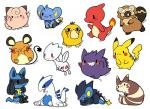 bibarel black_eyes black_hair blue_fur blush brown_fur canine charmeleon clefairy cute dedenne eyes_closed fire flying fur gengar hair huiro jackal looking_at_viewer lucario lugia luxray mammal nintendo one_eye_closed orange_body pikachu pink_body plain_background pokémon psyduck purple_body shinx sitting togetic video_games white_background white_body wink yellow_body  Rating: Safe Score: 6 User: slyroon Date: March 22, 2015""