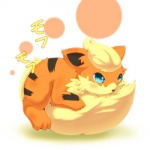 ambiguous_gender blonde_hair blue_eyes blush fur growlithe hair japanese_text nintendo okunawa open_mouth orange_fur pokémon pokémon_(species) simple_background smile solo text video_games