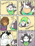 ! :3 aaron_(undertale) ambiguous_gender animated black_hair brown_hair clayterran clothing comic english_text equine eyes_closed flexing fur hair hippocampus horse human humor male mammal muscular protagonist_(undertale) shirt smile sweat temmie temmie_(undertale) text undertale video_games white_fur  Rating: Safe Score: 49 User: ROTHY Date: November 07, 2015