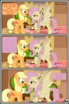 absurd_res applejack_(mlp) bat_pony blonde_hair duo earth_pony equine fangs female feral flutterbat_(mlp) fluttershy_(mlp) friendship_is_magic green_eyes gutovi-kun hair hi_res horse mammal my_little_pony pink_hair pony red_eyes tongue tongue_out wings