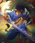 anthro armor black_hair clothing feline hair league_of_legends male mammal muscles rabbity solo sword weapon yasuo   Rating: Safe  Score: 6  User: Hardstyle_Chris  Date: February 26, 2014