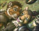 2014 anthro armor cheetah couple cute drugs duo eye_contact feline hair khajiit kissing leather lying male male/male mammal spots stripes the_elder_scrolls tiger video_games zen   Rating: Safe  Score: 26  User: KhraymTheCheetah  Date: December 10, 2014