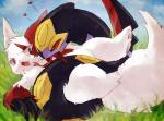 ambiguous_gender cloud coiling detailed_background duo feral forked_tongue grass nintendo open_mouth outside pokémon scalie seviper sky tongue video_games zangoose めばえRating: QuestionableScore: 11User: GenjarDate: July 30, 2017