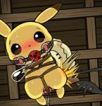 ball_gag bdsm bondage bound emonga female feral gag mimikyu nintendo pikachu pokémon sex_toy spanking vibrator video_games