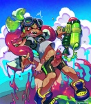 bite blush censored cephalopod clothing cloud dickgirl dickgirl/male duo eyewear goggles humanoid inkling intersex intersex/male male marine mask messy nintendo penis shorts splatoon squid tentacle_hair tentacles video_games weapon まろびでる  Rating: Explicit Score: 7 User: Cαnε751 Date: December 30, 2015