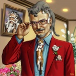 beard blue_eyes cat eyewear facial_hair feline feral flower glasses goatee grey_hair hair human male mustache necktie photo stan_lee suit taku what yellow_eyes   Rating: Safe  Score: 59  User: lelacrime  Date: February 13, 2012