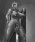 2015 anthro areola big_breasts big_nipples boss_monster breasts caprine clitoris clothing digital_media_(artwork) english_text erect_nipples female goat grey_background greyscale half-closed_eyes hand_on_hip horn huge_breasts long_nipples looking_at_viewer mammal monochrome monster mostly_nude navel nipples open_mouth plump_labia portrait pussy pussy_juice robe signature simple_background slightly_chubby smile solo spectrumshift text three-quarter_portrait toriel undertale video_games  Rating: Explicit Score: -1 User: GameManiac Date: February 02, 2016