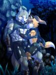 abs anthro arm_warmers armor biceps bracers bulge canine clothing crop_top detailed_background duo erection fishnet forest fox fur gloves greaves hi_res larger_male licking male male/male mammal muscular n_(artist) night ninja nipple_lick nipple_pinch nipples outside pecs penis_outline romantic_couple scarf shirt shorts size_difference sky smaller_male spandex star starry_sky sweat tight_clothing tongue tongue_out tree unconvincing_armor wolf  Rating: Explicit Score: 17 User: tartcore Date: December 27, 2015