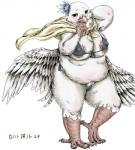 anthro avian bikini bird blush bubonikku cape chubby claws clothing dove exposed_nipples eyelashes feathers female flower flower_in_hair looking_at_viewer plant scales simple_background solo swimsuit thick_thighs white_background wings yellow_eyes  Rating: Questionable Score: 7 User: chdgs Date: October 04, 2015