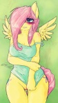 2013 anthro anthrofied blue_eyes blush bottomless clothed clothing cutie_mark dimwitdog equine feathered_wings feathers female fluttershy_(mlp) friendship_is_magic fur hair hair_over_eye hi_res mammal my_little_pony off_shoulder pegasus pink_hair pussy solo wings yellow_feathers yellow_fur