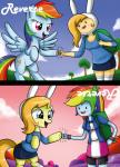 2014 adventure_time animal_ears armband backpack blonde_hair blue_eyes clothing cutie_mark duo equine fake_ears female fionna_the_human fist_bump flying friendship_is_magic hair human mammal multicolored_hair my_little_pony pegasus ponification purple_eyes rabbit_ears rainbow_dash_(mlp) rainbow_hair the-butch-x wings   Rating: Safe  Score: 7  User: 2DUK  Date: August 30, 2014