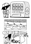 black_and_white clothed clothing comic hair human japanese_text kesu_pu male mammal monochrome musical_note nintendo pokéball pokémon simple_background smile standing text video_games white_background