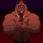 2015 beast_(disney) beauty_and_the_beast blue_eyes body_hair bow_tie character_from_animated_feature_film clothing cute disney flower happy_trail holding_flower horn looking_at_viewer male mammal muscular pants plant rose sarah-borrows simple_background smile solo tusks  Rating: Safe Score: 11 User: Numeroth Date: February 14, 2015