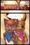 comic cute duo eevee english_text female feral inside nintendo one_eye_closed open_mouth pokémon pokémon_mystery_dungeon scarf smile text video_games vulpix wink zanthu   Rating: Safe  Score: 7  User: UNBERIEVABRE!  Date: June 22, 2014