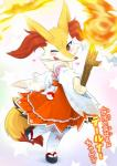 anthro braixen clothing fur japanese_clothing japanese_text kame_3 kemono legwear nintendo one_eye_closed open_mouth pokémon solo stockings text translated video_games yellow_fur  Rating: Safe Score: 3 User: KemonoLover96 Date: June 18, 2015""