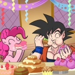 alien cake crossover cute dragon_ball dragon_ball_z duo earth_pony eating equine eyes_closed female feral food friendship_is_magic fur goku hair horse humanoid humor madmax male mammal my_little_pony party pink_fur pink_hair pinkie_pie_(mlp) pony saiyan the_truth