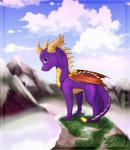 2014 acaris cloud detailed_background dragon feral horn looking_at_viewer male mountain outside purple_eyes purple_skin scalie sky smile solo spyro spyro_the_dragon video_games wings yellow_scales  Rating: Safe Score: 16 User: Hystrix Date: January 03, 2015