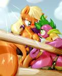 2015 anthro anthrofied applejack_(mlp) blush breasts clothing digital_media_(artwork) dragon duo earth_pony equine female fence freckles friendship_is_magic frist44 fur green_eyes hair hat hi_res horse long_hair male male/female mammal my_little_pony nipples orange_fur outside penis pink_hair pony scalie spike_(mlp) sweat   Rating: Explicit  Score: 28  User: lemongrab  Date: February 26, 2015