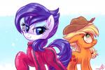 2015 applejack_(mlp) blonde_hair blue_eyes clothing cutie_mark duo earth_pony equine female feral freckles friendship_is_magic green_eyes hair hat horn horse looking_at_viewer mammal my_little_pony pony purple_hair rarity_(mlp) smile unicorn whitediamonds   Rating: Safe  Score: 9  User: Egekilde  Date: April 18, 2015
