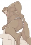 anthro bear bent_over bulge butt clothing embarrassed fundoshi japanese_clothing male mammal oak orchish_(pixiv) presenting presenting_hindquarters simple_background solo underwear underwear_aside underwear_pull white_background  Rating: Questionable Score: 11 User: drafan5 Date: August 18, 2015