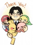 alien black_hair blonde_hair blush clothing cloudy-dormir crossover english_text eyes_closed eyewear fur glasses gloves group hair hat human kirby kirby_(series) male mammal mario mario_bros necktie nintendo pikachu pokémon rip_iwata rodent satoru_iwata short_hair simple_background smile suit tears text the_legend_of_zelda toon_link video_games yellow_fur  Rating: Safe Score: 13 User: Cαnε751 Date: July 15, 2015