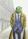 amphibian anthro anthrofied clothed clothing coat frog front_view fully_clothed green_skin hands_in_pockets kermit_the_frog looking_aside low_res male muppets necktie outside pants portrait solo spot_color suit three-quarter_portrait unknown_artist