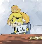 animal_crossing anthro blush canine cum cum_on_face dog english_text female isabelle_(animal_crossing) looking_at_viewer mammal nintendo shih_tzu sign solo text video_games  Rating: Explicit Score: 6 User: Juni221 Date: October 19, 2014