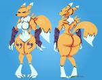 2017 angry angry_face anthro athletic big_breasts big_butt black_nose black_sclera blue_background blue_eyes breasts butt canine chest_tuft claws digimon digital_media_(artwork) dipstick_tail facial_markings featureless_breasts featureless_crotch female front_view fur hi_res looking_at_viewer mammal markings midriff mostly_nude multicolored_fur multicolored_tail muscular navel nude rear_view renamon simple_background sleeves standing thick_thighs tuft two_tone_fur under_boob voluptuous white_fur white_tail wide_hips wolftang yellow_fur yellow_tail