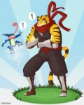 ! anthro armor big_muscles blue_eyes clothing duo feline grass male mammal morenatsu muscular muscular_male naruever outside scarf tiger torahiko_(morenatsu) warrior  Rating: Safe Score: 3 User: Kod Date: June 25, 2015