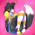 anthro blush canine clothed clothing crossdressing fox fur girly grey_fur legwear looking_at_viewer lovespell male mammal one_eye_closed panties pink_background simple_background sitting smile socks solo underwear  Rating: Questionable Score: 10 User: EmoCat Date: November 23, 2015