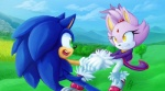 anthro blaze_the_cat blue_fur cat duo feline female fur green_eyes hand_holding hedgehog male mammal purple_fur smile sonic_(series) sonic_the_hedgehog yellow_eyes zenitsaga  Rating: Safe Score: 4 User: Rad_Dudesman Date: October 05, 2014