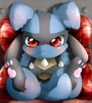 ambiguous_gender blush cub cute lucario nekokagebevil nintendo pillow pokémon sitting solo tears video_games young   Rating: Safe  Score: 10  User: Toothless-chan  Date: June 29, 2014