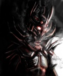 ambiguous_gender armor creepy daedra horn no_pupil red_eyes spikes steam the_elder_scrolls unknown_artist video_games   Rating: Safe  Score: 3  User: Ganjaa94  Date: February 22, 2014
