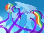 anthro anthrofied areola blue_background blue_fur bodysuit breasts clothed clothed_sex clothing cloud equine eyewear feathered_wings feathers female friendship_is_magic fur goggles hair half-closed_eyes looking_back mammal multicolored_hair my_little_pony nipples open_mouth outside pegasus penetration rainbow_dash_(mlp) rainbow_hair sex simple_background skinsuit solo spazzykoneko tentacles tongue torn_clothing vaginal vaginal_penetration wings  Rating: Explicit Score: 25 User: EmoCat Date: June 05, 2015
